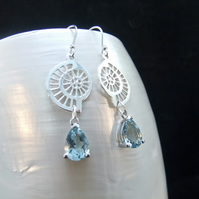 Aquamarine Gemstones Ammonite Design Sterling Silver Earrings