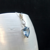 Blue Topaz & Cubic Zirconia Gemstone Sterling Silver Pendant