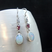 AAA Quality Ethiopian Opal, Natural Ruby & Cubic Zirconia Earrings