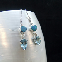 Australian Opal & Aquamarine Gemstone Sterling Silver Earrings