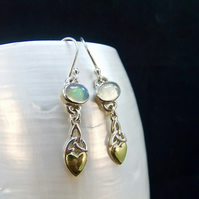 Ethiopian Opal Gemstone with Gold Accents Sterling Silver Earrings