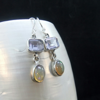 Colour Change Alexandrite & Ethiopian Opal Sterling Silver Earrings