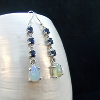 Natural Precious Sapphire & AAA Quality Ethiopian Opal Gemstones Earrings