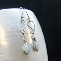 White Opal Gemstone Unique Design Sterling Silver Earrings