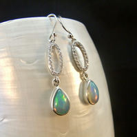 Ethiopian Opal & Cubic Zirconia Gemstone Sterling Silver Earrings