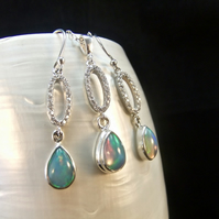 Matching Jewellery Set, Ethiopian Opal and Cubic Zirconia, Sterling Silver