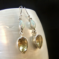 Natural Citrine & White Opal Gemstone Sterling Silver Earrings
