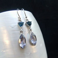 London Blue Topaz & Alexandrite Gemstone Sterling Silver Earrings