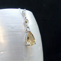 Natural AAA Quality Citrine Gemstone Sterling Silver Pendant, Sunflower