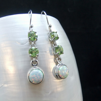 Natural Peridot & White Opal Gemstone Sterling Silver Dangle Earrings