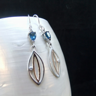 London Blue Topaz, Cubic Zirconia Gemstones, Rose Gold Accents, Earrings