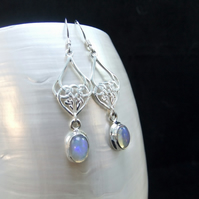 Ethiopian Opal Gemstone with Unique Design Sterling Silver Earrings