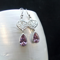 Pink Kunzite Gemstone Sterling Silver Earrings, Handmade Silver Drop Earrings