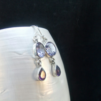 Alexandrite, Purple Amethyst Gemstones, Sterling Silver, Earrings