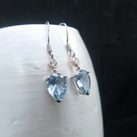 Blue Topaz, Cubic Zirconia, Rose Gold Accents, Sterling Silver, Earrings