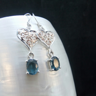 Rare Teal Kyanite Gemstones, Rose Gold Accents, Heart Design Earrings
