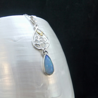 Natural Ethiopian Opal, 9ct Yellow Gold Accents, Sterling Silver, Necklace