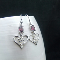 Natural Rhodolite Pink Garnet, Leaf Heart, Sterling Silver, Earrings