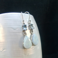 Blue Topaz, White Opal Gemstones, Sterling Silver Earrings