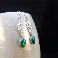 Green Fire Opal Gemstones, Sterling Silver, Earrings