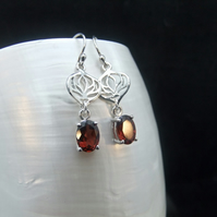 Natural Faceted Garnet Gemstones, Sterling Silver, Earrings