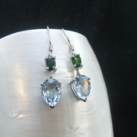 Blue Topaz, Chrome Diopside, Sterling Silver, Earrings