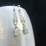 AAA Ethiopian Opal Gemstones, Gold Accents, Welsh Love Spoon, Earrings