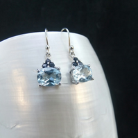 Natural Sapphire, AAA Blue Topaz, Sterling Silver, Earrings