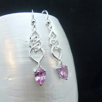 Pink Sapphire, Unique Design, Sterling Silver Earrings