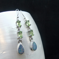 Australian Opal & Green Peridot Gemstone Sterling Silver Earrings