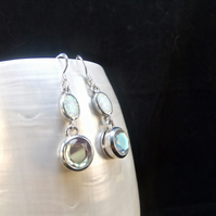 White Opal, Nordic Mist Topaz Gemstones, Sterling Silver, Earrings
