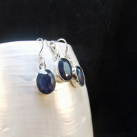 Matching Jewellery Set, Natural Blue Sapphire Gemstones, Necklace & Earrings