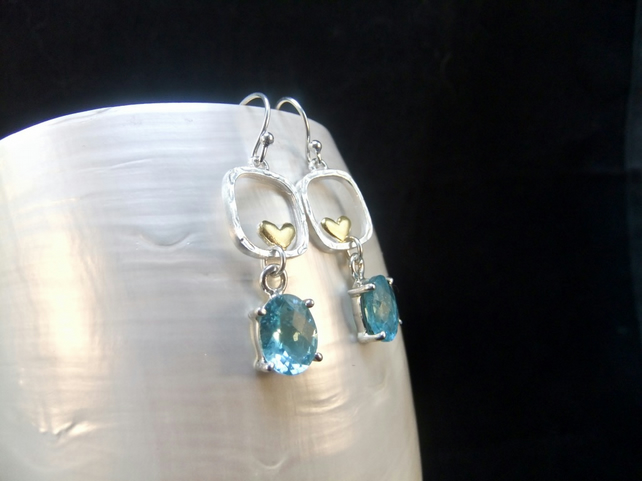 Natural Apatite Gemstones, Gold Accents, Sterling Silver, Earrings