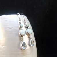 Blue Topaz, White Opal Gemstones, Sterling Silver, Earrings