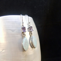 White Opal, Purple Amethyst Gemstones, Sterling Silver, Earrings