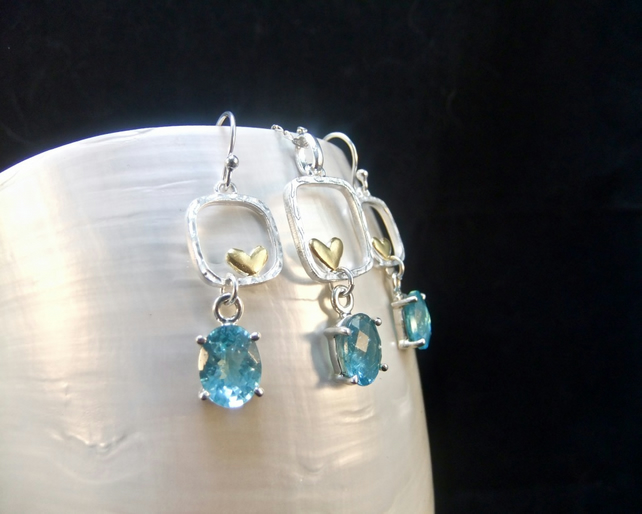 Matching Jewellery Set, Natural Apatite Gemstones, Gold Accents, Sterling Silver