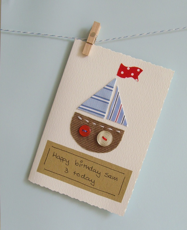 boys card Handmade boat