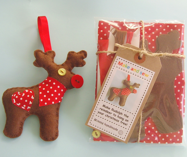 Christmas craft sewing kit Rudolph the reindeer
