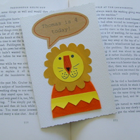 birthday card  handmade lion