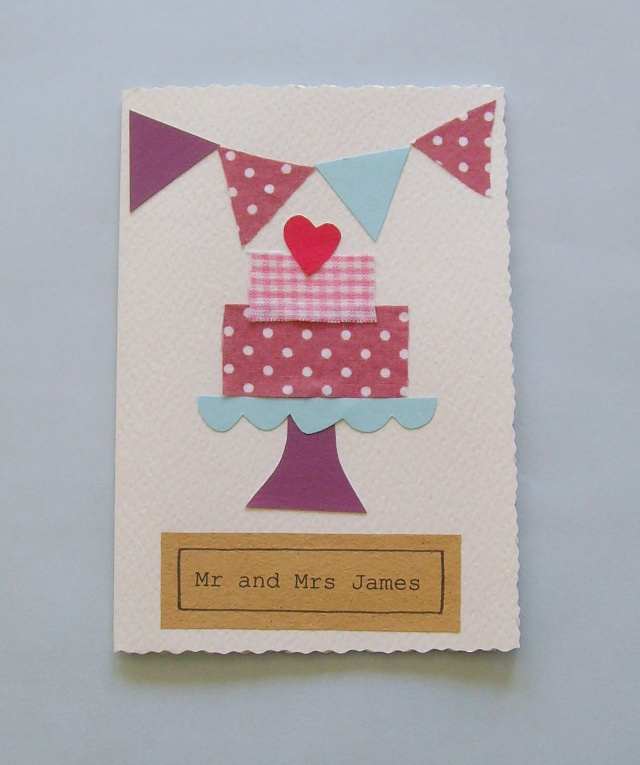 Wedding card handmade can be personalised