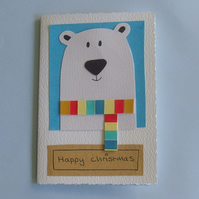 Christmas card - handmade personalised polar bear