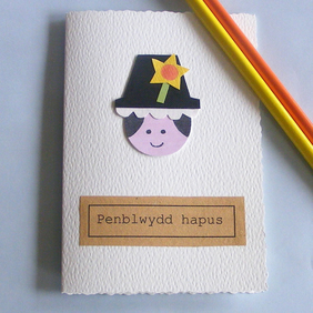 birthday card - handmade welsh lady card