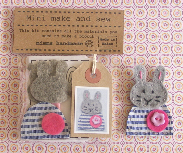 Felt jewellery kit - Sew your own bunny brooch craft sewing kit