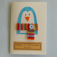Handmade christmas card -penguin- can be personalised