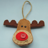 Handmade reindeer tree decoration