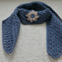 Crochet Blue Scarf with Popcorn Flower
