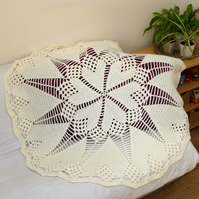 Crochet Cream Heart Doily Style Blanket