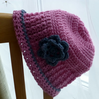 Candy Pink with Grey Flower Beanie, 51 - 56 cm
