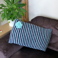 Stripy Blue & Grey Cushion Cover, 54 x 35 cm