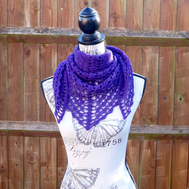 African Violet 'Transposition' Wool Shawl, 122 x 61 cm